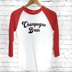 Wildfox White Red Champagne Brain Baseball Shirt